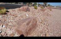 Las Vegas pink boulders and rocky landscape