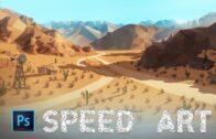 Low Poly Desert Landscape-Photoshop Speed Art