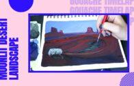🌵Gouache time-lapse photography    Desert landscape under moonlight🌙